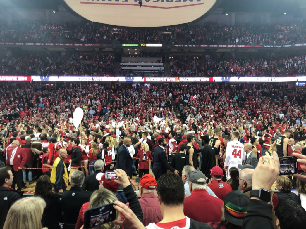 Wisconsin fans celebrate after the Badgers defeat Purdue on Feb. 15, 2018