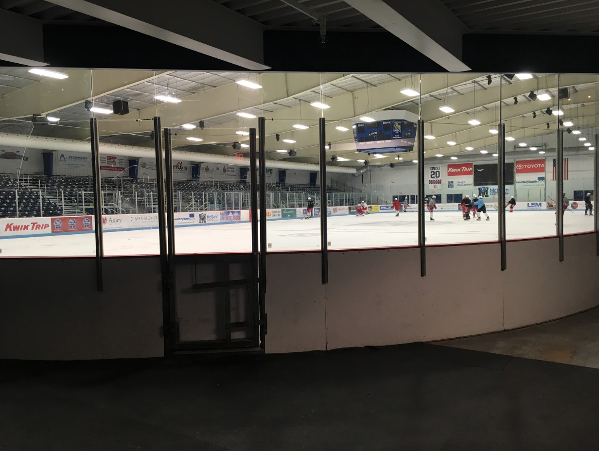 Preseason training. The Madison Capitols, who share the rink with the MHS hockey team, practice on the new rink. The rink recently received a two million dollar renovation.