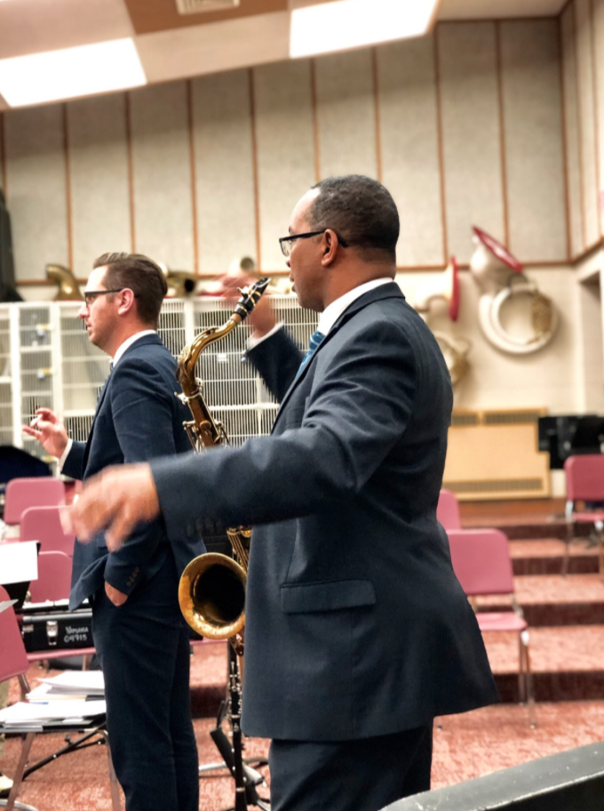 Goines instructs MHS students during a rehearsal with the 7:00 Jazz Band.