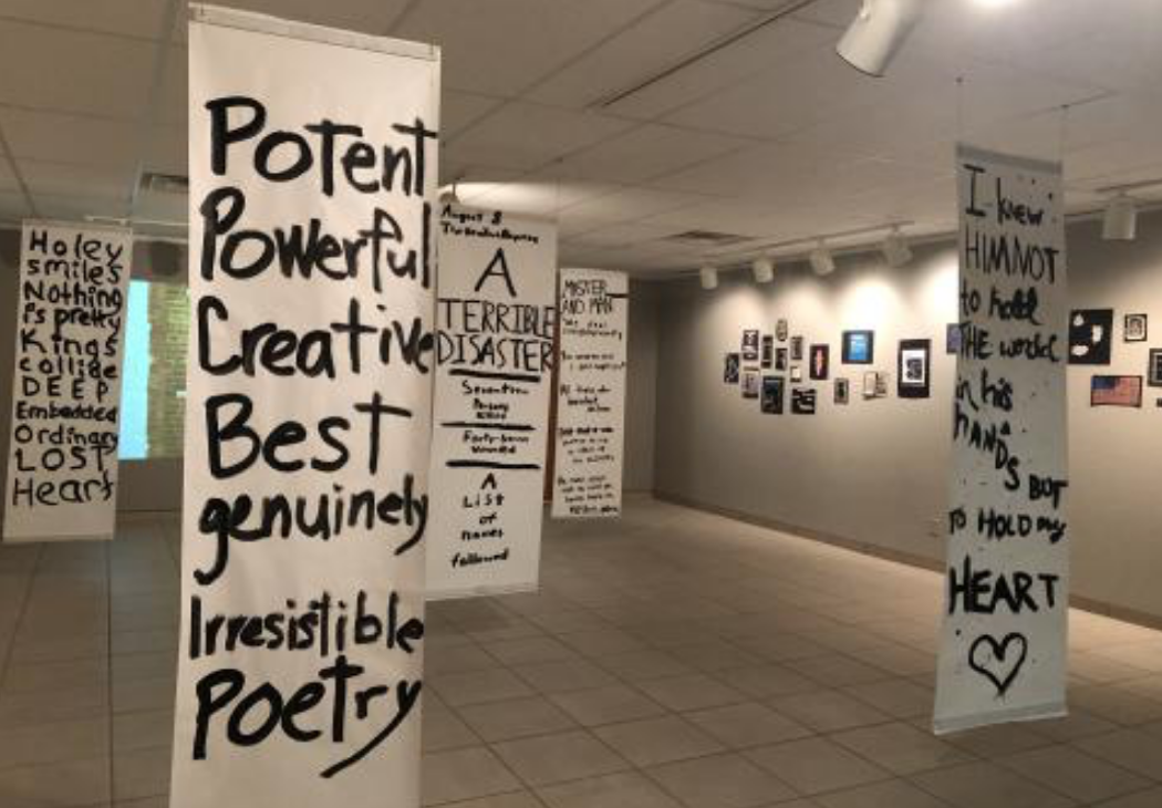 MHS Art Gallery exhibit of found poems by Creative Writing