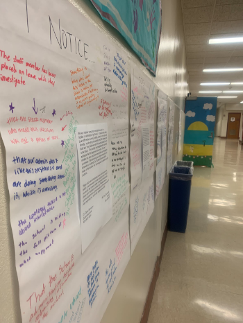 After the Voices of Color class opened a discussion on the STAR testing incident, posters were opened up to the rest of the school to gauge reactions.
