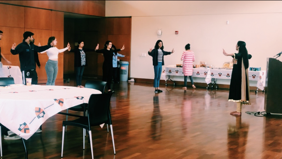 Shruti Parthasarthy, the founder and president of Calm with Kala, leads a workshop centered around the classical dance Bharatanatyam and relieving stress.