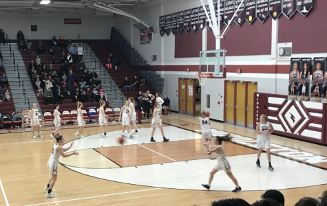The MHS Girls basketball team warming up at the Coaches vs. Cancer game, organized by MHS Relay for Life, on January 31, 2020.