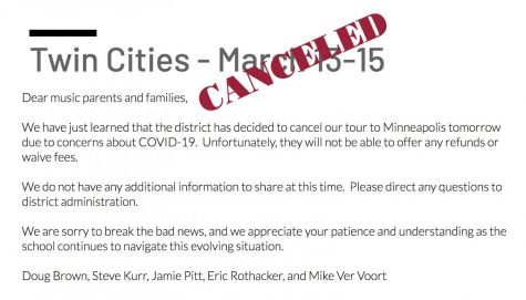 A message from Doug Brown, Steve Kurr, Jamie Pitt, Eric Rothacker, and Mike Ver Voort announcing the cancellation of the MHS Music Department's trip to Minneapolis, MN.