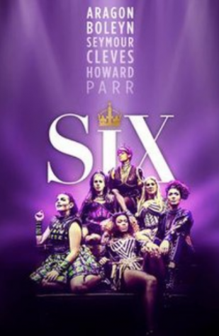 Six debuted on Broadway in January 2020, and it will continue to play into October. Pictured is the original UK Tour cast, starring (left to right) Millie O'Connell as Anne Boleyn, Aimie Atkinson as Katherine Howard, Alexai McIntosh as Anne of Cleves, Natalie Paris as Jane Seymour, Maiya Quansah-Breed as Catherine Parr, and Jarnéia Richard-Noel as Catherine of Aragon.