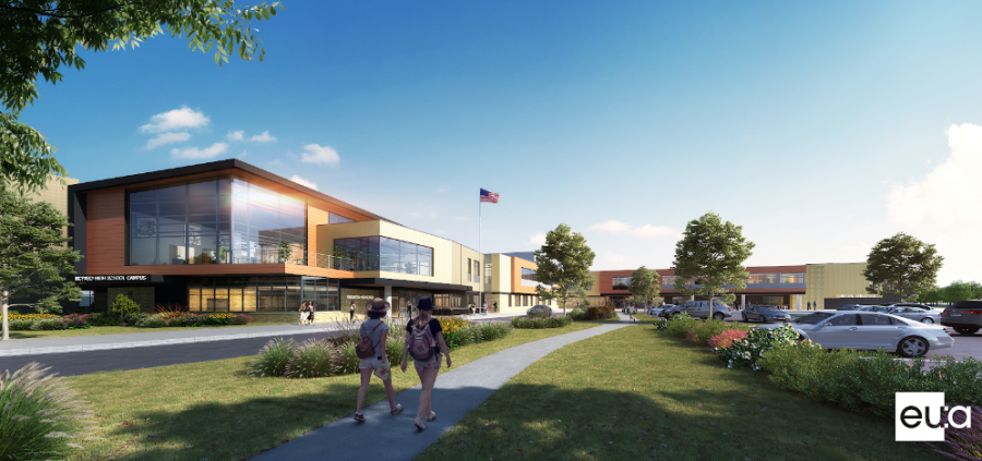 The MCPASD High School Campus building project, known previously as Referendum 2018, will begin construction in April 2020 and culminate in the fall of 2023. Shown above is the design for the front of the new high school campus. This will be one of several new entrances, allowing greater access to the school than is currently available.