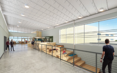 """The MCPASD High School campus prioritizes student collaboration and independence. Design elements such as this """"social staircase"""" will allow students greater self-determination in their social lives and education."""