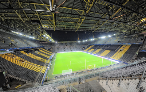 Borussia Dortmund's Signal Iduna Park in Dortmund Germany. Completely empty, just like Saturday when the Bundesliga started up again.