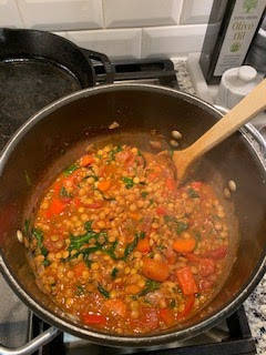 Spicy lentil soup before being served.  I made this with my family as part of a one-soup per week New Year's goal.