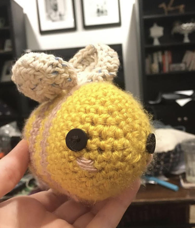 Leaders of the MHS Knit and Crochet Club have many impressive creations but among the cutest is Annie Leffel's crocheted bee.
