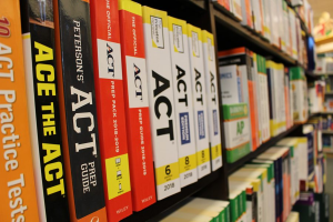 Common test prep books used to study for the ACT. Many Middleton High School juniors will use these to prepare for their test day on March 9.