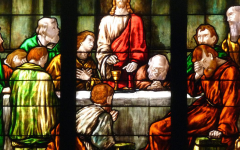 """A depiction of """"The Last Supper"""" on a stained glass window in Bethlehem Evangelical Lutheran Church in Scenery Hill, Pennsylvania."""