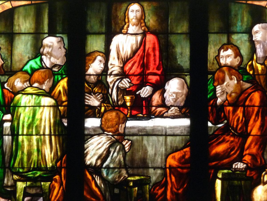 "A depiction of ""The Last Supper"" on a stained glass window in Bethlehem Evangelical Lutheran Church in Scenery Hill, Pennsylvania."