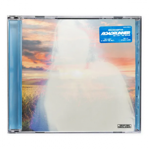 "The cover art for ""ROADRUNNER: NEW LIGHT, NEW MACHINE"" shows a glowing white portrait of band member Joba in front of a field during a colorful sunset. The light outline alludes to the album title as well as the different themes and meanings of light throughout the album."